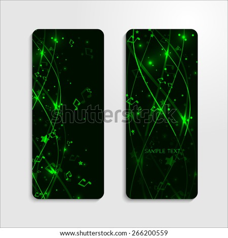Set of banners with green background with lines, stars and notes. Vector EPS 10  - stock vector