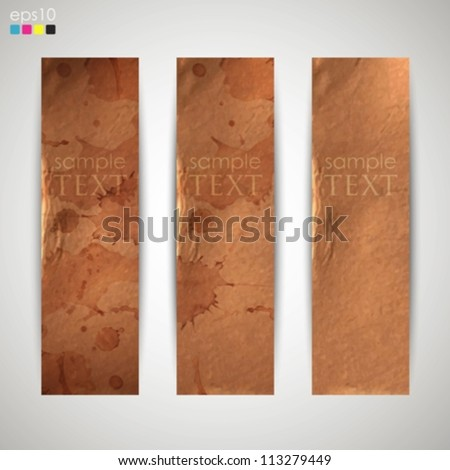 set of banners with grunge cardboard texture - stock vector