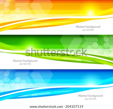 Set of banners with hexagons - stock vector
