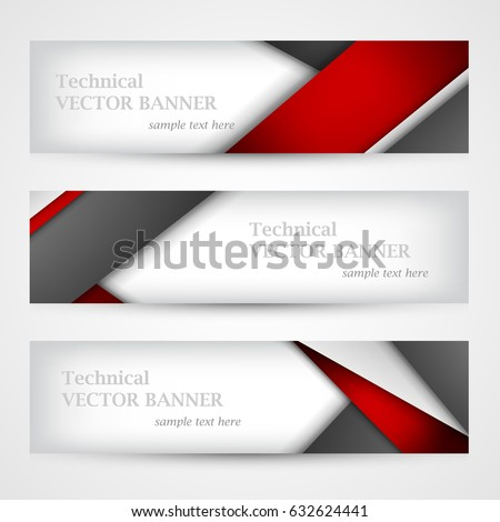 Set of banners with lines paper. Business design template. EPS 10