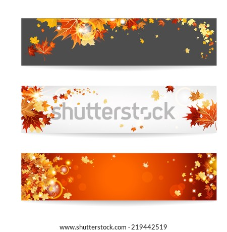 Set of banners with maple leaves. Copy space. - stock vector