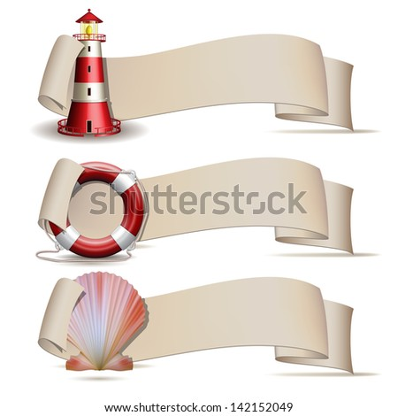 Set of banners with marine icons. Vector illustration - stock vector