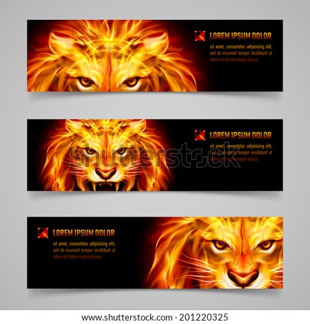 Set of banners with mystic lion in orange flame - stock vector