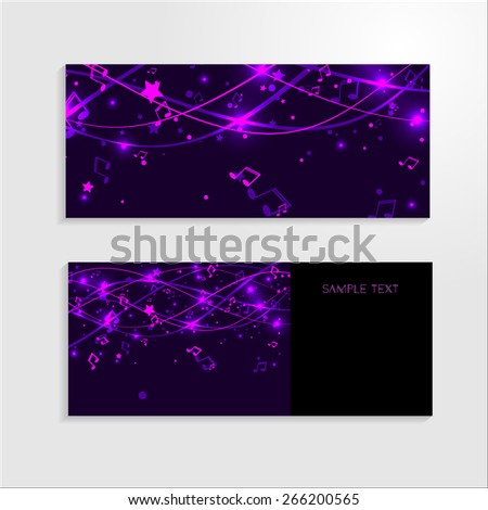 Set of banners with purple background with lines, stars and notes. Vector EPS 10