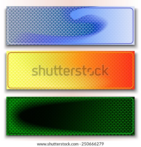 Set of banners with scaly background - stock vector