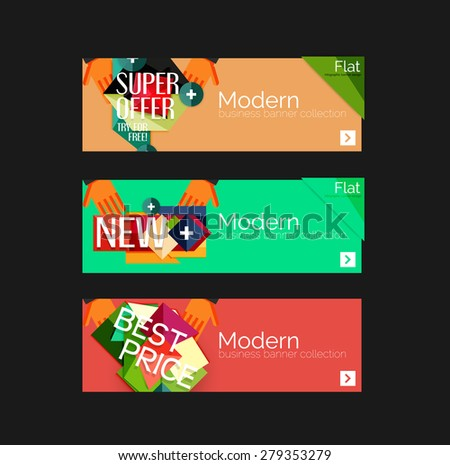 Set of banners with stickers, labels and elements for sale. Vector illustration - stock vector