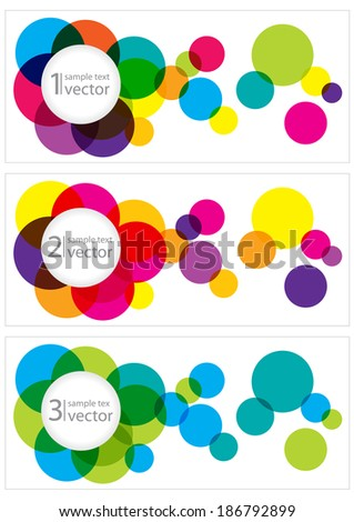 set of banners with transparent colorful bubbles - stock vector