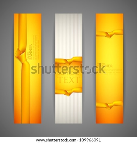 set of banners with yellow ribbons - stock vector