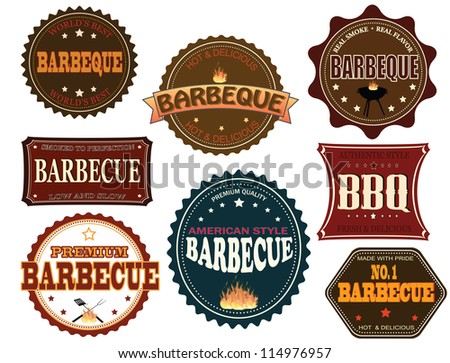 Set of barbecue labels and elements on white, vector illustration
