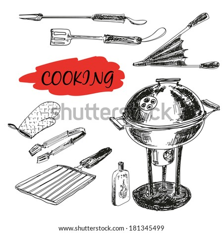 Set of barbecue utensils. Hand drawn illustrations - stock vector