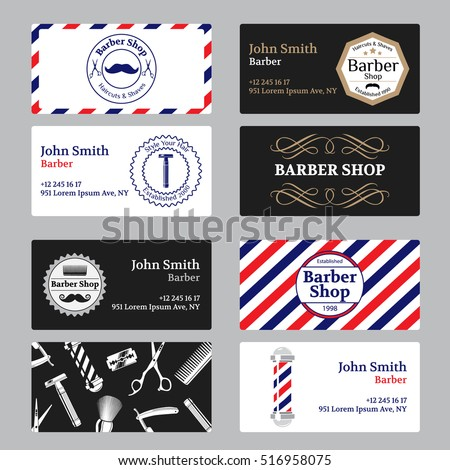 Set Barber Shop Business Card On Stock Vector Shutterstock - Barber business card template