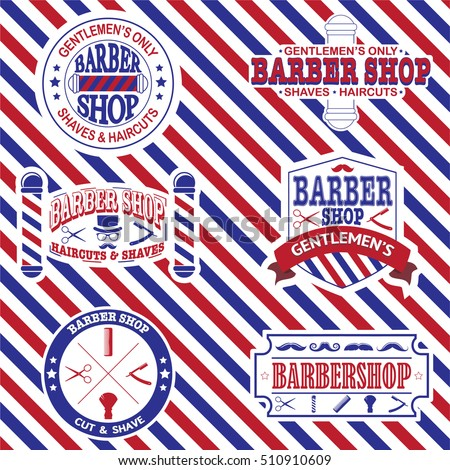 Set of barber shop vintage emblems