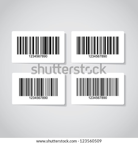 Set of barcode stickers - illustration - stock vector