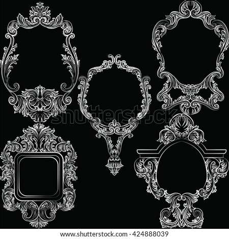 Set of Baroque Vintage Decoration Frames. Flourishes Victorian Royal Rich Ornaments and Frames. Retro Style Collection for Cards, Invitations, Banner, Poster, Badges, Logotypes, Photos, Placards - stock vector