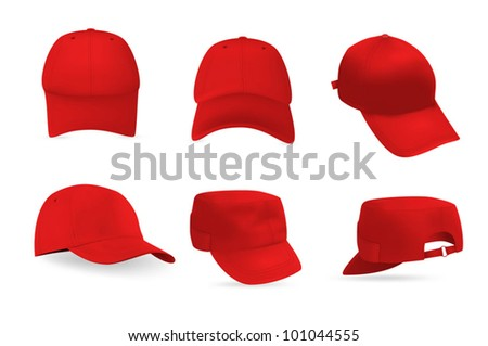 Set of baseball and military caps templates. - stock vector