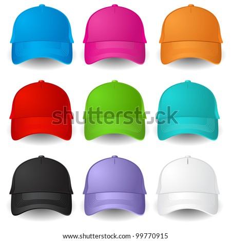 Set of Baseball caps. Illustration on white background - stock vector