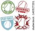 Set of baseball grunge rubber stamps, vector illustration - stock