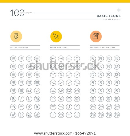 Set of basic icons for web and mobile. Icons for text editor, arrow sign, document and folder.     - stock vector