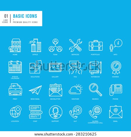 Set of basic thin lines web icons - stock vector