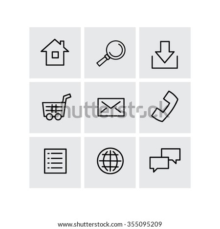 Set of basic website icons