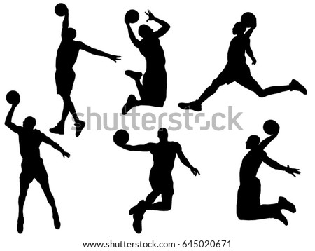 Set of basketball dunk silhouette