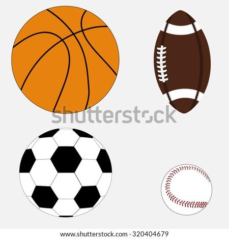Set of basketball, football, soccer ball, baseball, vector - stock vector