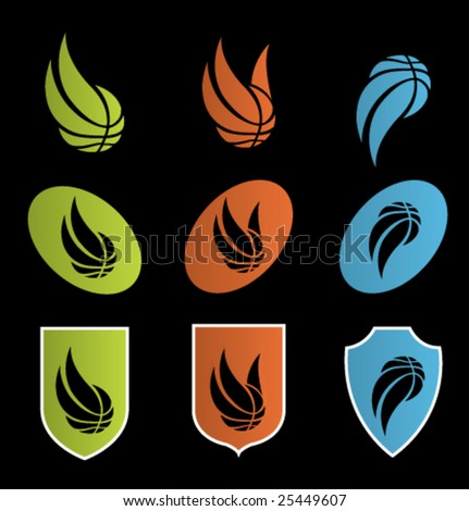 set of basketball icons - stock vector
