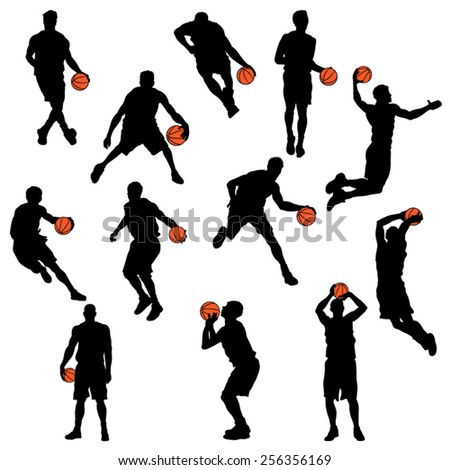 Set of Basketball Player Silhouettes. Vector Image
