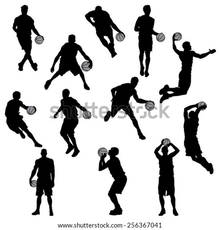 Set of Basketball Player Silhouettes. Vector Image - stock vector