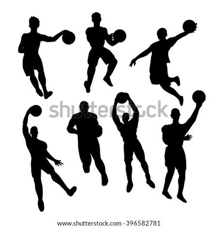Set of basketball players silhouette - stock vector