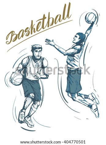 Set of basketball players. Vector hand drawn illustration. Isolated on white background - stock vector