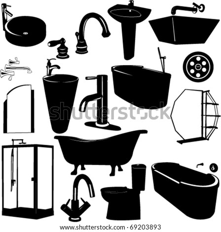 set of bathroom objects vector - stock vector