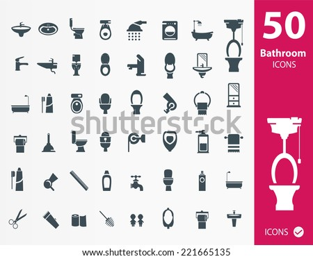 Set of bathroom Wc ,Toilet icons - stock vector