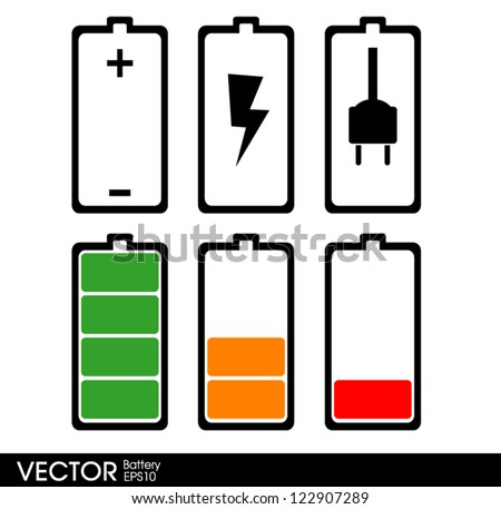 Set of battery charge - stock vector