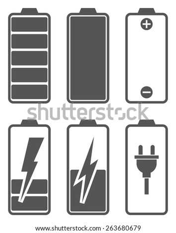 Set of battery charge level indicators. Icons for tablets and mobile devices. Vector illustration. - stock vector