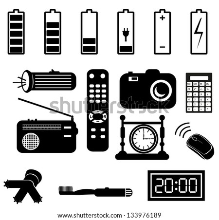 Set of battery charge level indicators on white. batteries in household items - stock vector