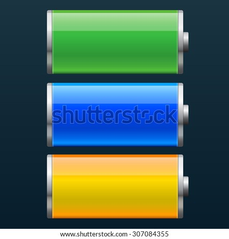 Set of battery charge status vector illustration - stock vector