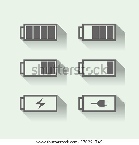 Set of battery icons, flat design, vector - stock vector