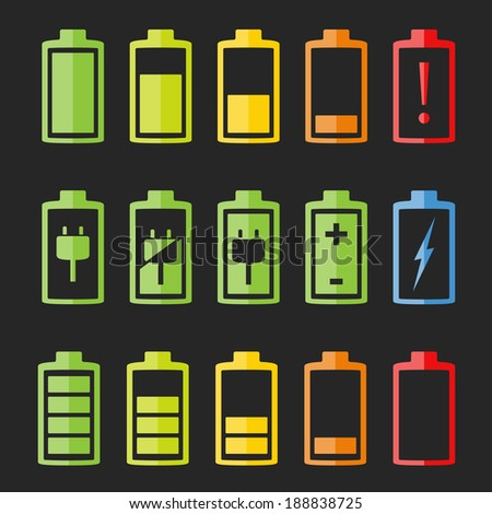 Set of battery indicators on dark background, vector eps10 illustration - stock vector