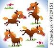Set of bay horses - stock vector