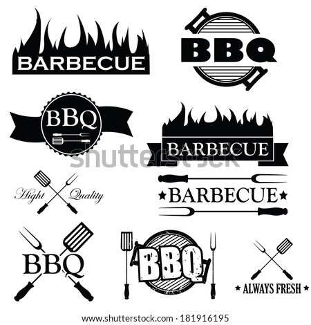 Set of bbq icons isolated on white background, vector illustration - stock vector