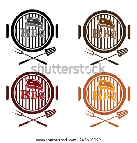 set of BBQ labels vector design template - stock vector