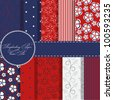 set of beaautiful vector red and blue paper for scrapbook - stock photo