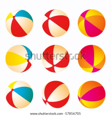 set of beach balls - stock vector