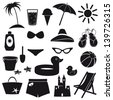 Set of beach icons. - stock vector