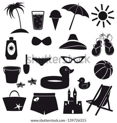 Set of beach icons. - stock vector