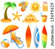 set of beach objects vector - stock vector