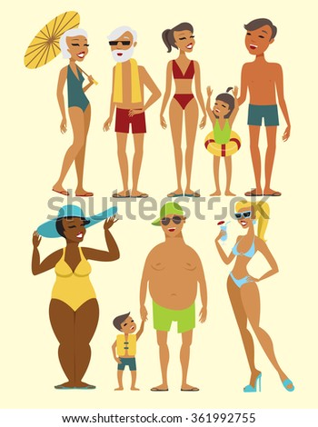 Set of beach people characters flat vector illustration - stock vector