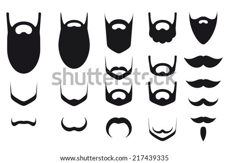 Set of beard and mustache silhouettes - stock vector