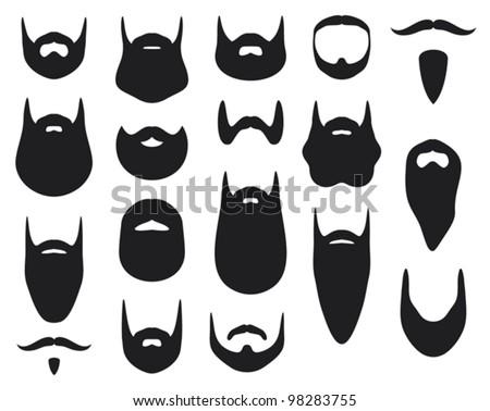 Set of beard silhouettes (beard collection) - stock vector